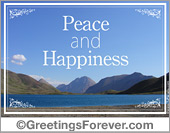 Greeting ecards: Peace and happiness ecard