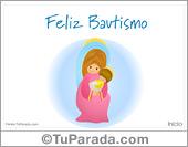 Tarjeta - Tarjeta de Bautismo con Virgen y niño Jesús