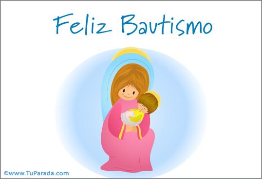 Tarjeta de Bautismo con Virgen y niño Jesús