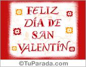 Tarjeta de San Valentín con flores y letras bordó