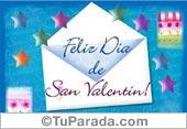 Día de San Valentín con sobre y fondo celeste