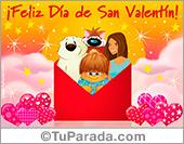 Postal animada de feliz día de San Valentín en sobre rojo.