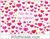 Feliz día de San Valentín con corazones, con música, para el 14 de febrero.
