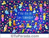 San Valentín - Tarjetas postales: Tarjeta para San Valentín con angelitos