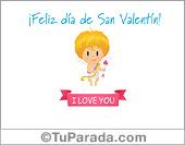 Feliz día de San Valentín con ángel, I love you con mensaje.