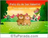 Tarjeta, feliz día de los enamorados con osos de peluche.