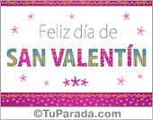 San Valentín - Tarjetas postales: Tarjeta para San Valentín con letras animadas