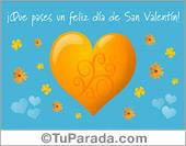 San Valentín - Tarjetas postales: Tarjeta con corazón y fondo celeste