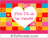 Tarjeta para San Valentín con fondo de guardas de muchos colores.