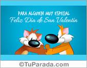 Tarjeta de feliz día de San Valentín con abrazo y saludo.