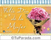 Feliz día de la mujer con ramo de rosas