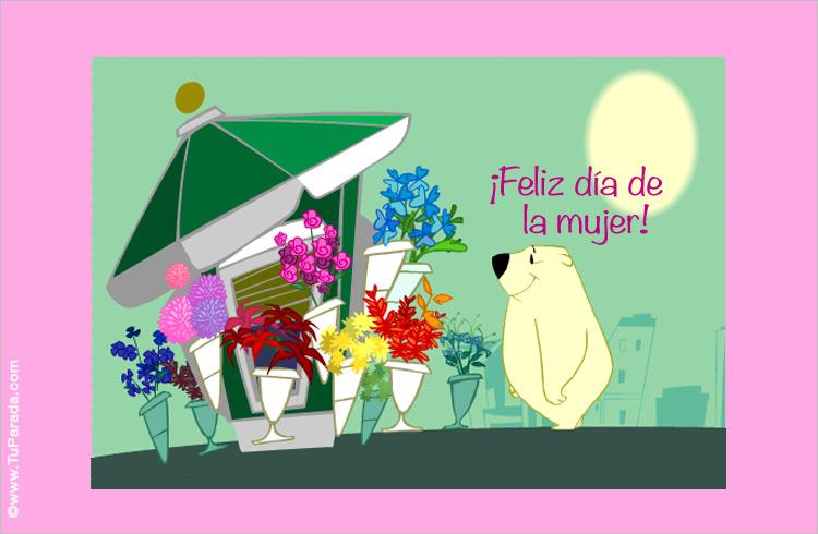 Tarjeta - Flores en el día de la mujer.