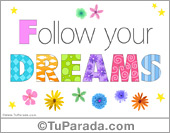 Buenos deseos - Tarjetas postales: Follow your dreams