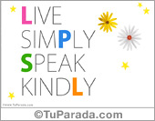 Tarjeta - Live simply, speak kindly