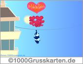 E-Card mit Luftballons zum Valentinstag