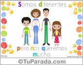 Tarjeta - Familia con hijo varón e hija mujer