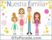 Tarjeta - Nuestra familia con dos hijas mujeres