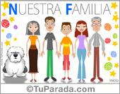 Tarjetas postales: Familia con padres, hijo, abuelos y perro
