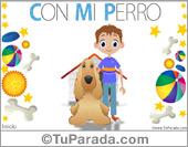 Hijos - Tarjetas postales: Tarjeta de niño con perro