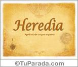 Origen y significado de Heredia