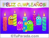 Cumpleaños - Tarjetas postales: Feliz cumpleaños con velas decoradas