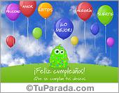 Cumpleaños para amigos - Tarjetas postales: Tarjeta de deseos para cumpleaños