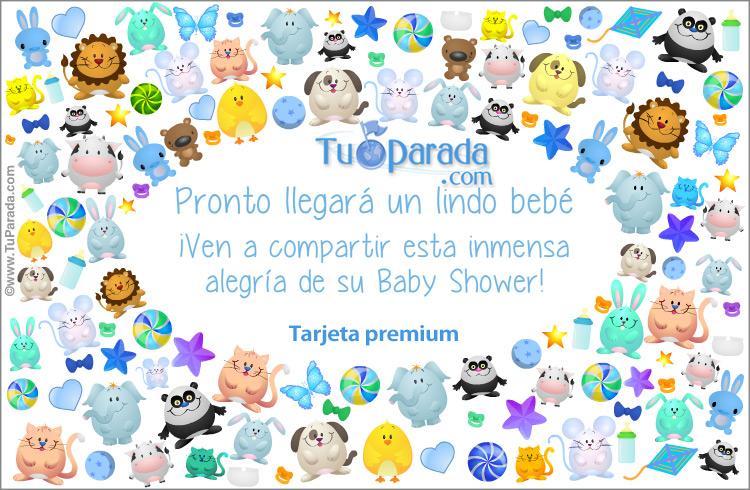 Tarjeta Baby Shower con animalitos en azul, Baby Shower, tarjetas