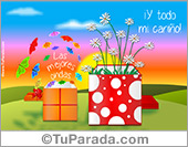 Hola, saludos y buen día - Tarjetas postales: Postal virtual de dos regalos con sorpresas