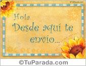 Tarjeta de Hola, saludos y buen día