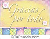 Gracias - Tarjetas postales: Gracias por todo.