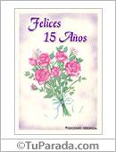 Tarjetas postales: Tarjeta de quince años con flores