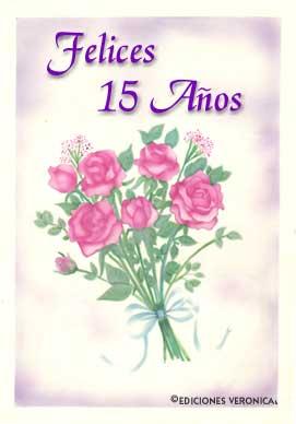 Tarjeta - Tarjeta de quince años con flores