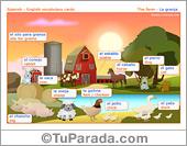 Vocabulario español - inglés: la granja, the farm.