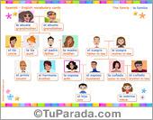 Vocabulario español - inglés: la familia, the family.