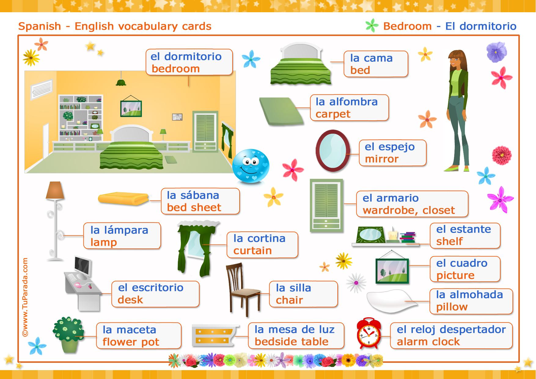 vocabulario espa ol ingl s el dormitorio the bedroom vocabulario espa ol ingl s tarjetas