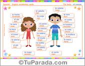 Tarjeta de Vocabulario español - inglés