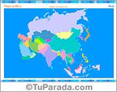 Mapa de Asia para imprimir y completar