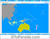 Mapa de Oceanía para imprimir y completar