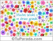 Hola, saludos y buen día - Tarjetas postales: Tarjeta de saludos y abrazo