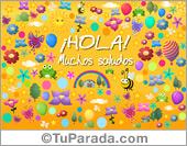 Hola, saludos y buen día - Tarjetas postales: Postal divertida de saludos