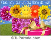 Hola, saludos y buen día - Tarjetas postales: Tarjeta de regalo con sol
