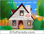 Tarjetas, postales: Tarjeta de buen día en casa
