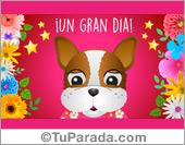 Tarjetas, postales: Tarjeta animada de saludos con Bulldog Francés