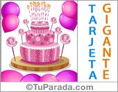Tarjeta - Tarjeta con torta gigante rosa
