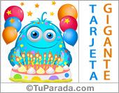 Tarjeta de cumpleaños con globos y torta de colores alegres.