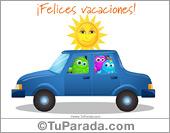 Tarjetas, postales: Tarjeta de felices vacaciones en auto
