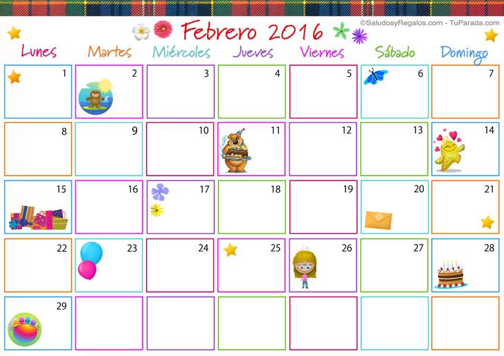 Calendario Multicolor - Febrero 2016, Calendario Multicolor 2016 ...