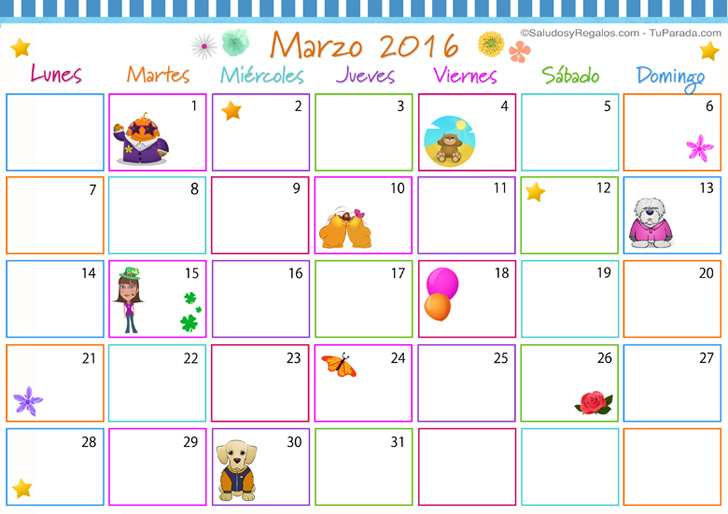 foto de Related Keywords & Suggestions for marzo calendario 2016