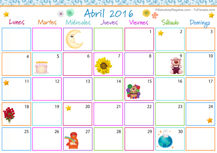 Calendario Multicolor - Abril 2016, Calendario Multicolor 2016