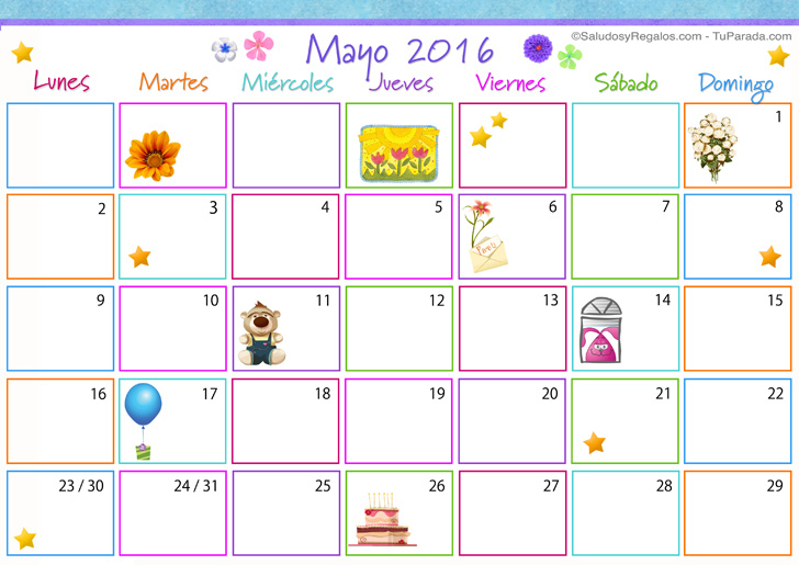 Calendario Multicolor - Mayo 2016 - Calendario Multicolor 2016, enviar ...